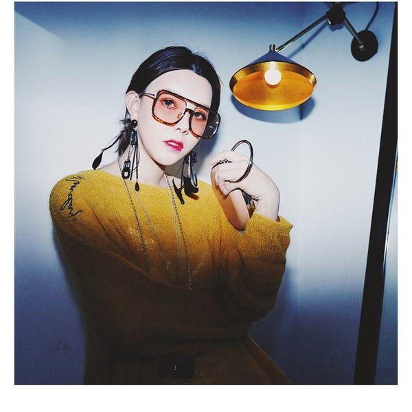 現貨-韓版ulzzang時尚百搭平光鏡新款透明眼鏡雪梨華晨宇明星同款墨鏡女潮網紅太陽鏡男大框架134