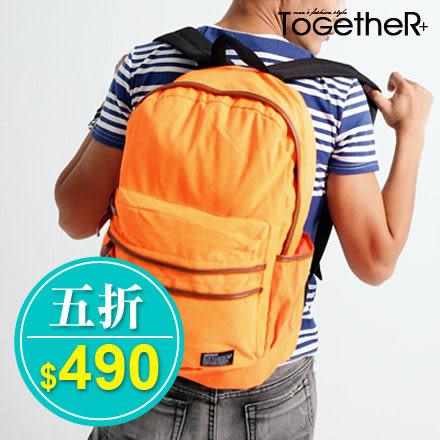 ToGetheR+【BNS8170】繽紛螢光馬卡龍皮革滾邊大容量帆布後背包(五色)
