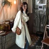 秋裝韓版新款寬鬆中長款時尚翻領又排扣設計感長袖風衣外套女 伊莎公主