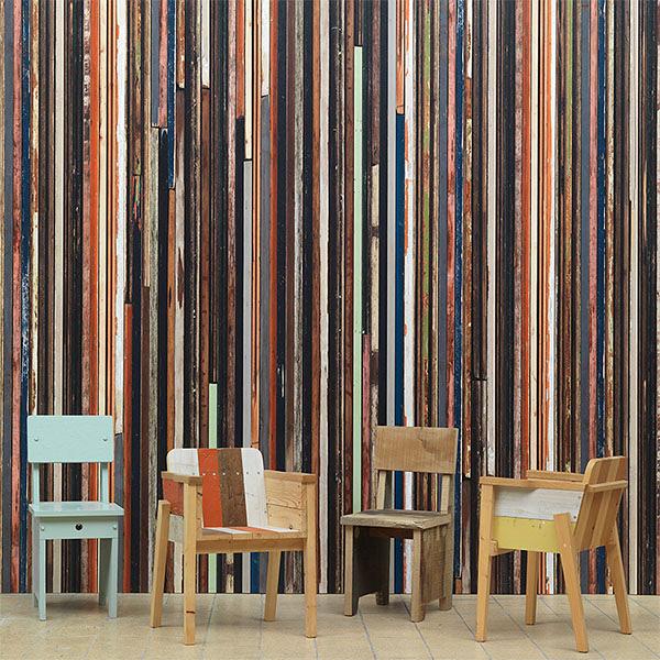 彩色木紋 仿真(fake) 工業風【荷蘭 進口牆紙】Scrapwood Wallpaper by Piet Hein Eek2【 48.7cm×9m/卷】 PHE-15