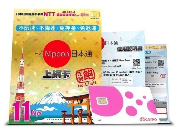 (現貨+免運)docomo 行動網卡 EZ Nippon 日本通(11天吃到飽)網路卡 4G LTE(旅遊必備) 【馬尼行動通訊】
