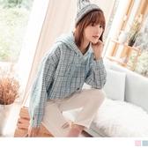 《AB8546-》配色格紋英文字連帽上衣 OB嚴選