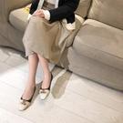 大尺碼真皮女鞋34-43☆2020新款歐美時尚百搭頭層牛皮金屬扣方頭低跟鞋 OL工作鞋 羊皮鞋墊~3色