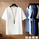 中國風亞麻t恤男大碼夏季寬鬆圓領短袖上衣純色打底夏裝薄款半袖 自由角落