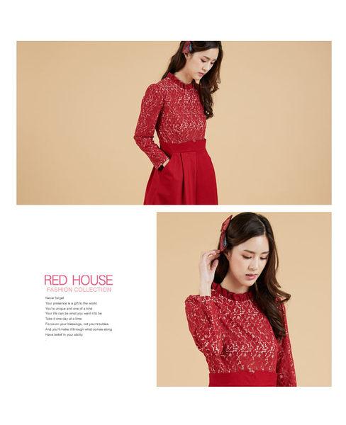 RED HOUSE-蕾赫斯-荷葉領蕾絲洋裝(紅色)