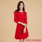 【RED HOUSE 蕾赫斯】素色雪紡拼接洋裝(紅色)