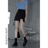 包臀半身裙女夏開叉高腰修身顯瘦不規則a字裙黑色大碼裙褲短裙-米蘭街頭