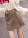A字裙 不規則格紋短裙女秋冬季新款高腰顯瘦學生百搭a字半身裙