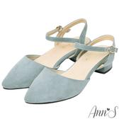Ann'S砰然約會-夢幻細絨繫帶側V顯瘦粗跟尖頭鞋-藍