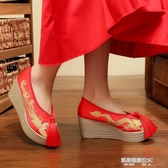 婚鞋新款中式婚鞋秀禾鞋高跟鞋新娘紅色布鞋女粗跟繡花鞋紅鞋 凱斯盾