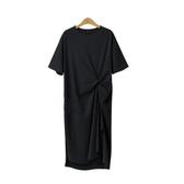 2019流行裙子純棉寬鬆休閒很仙的法國小眾連身裙大碼長款t恤裙夏