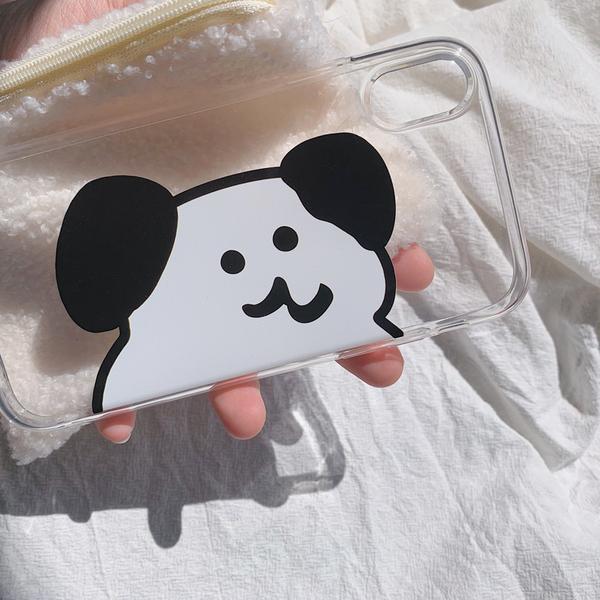 iPhone11ProMax 蘋果手機殼 可掛繩 超大顆黑白軟糖熊 矽膠軟殼 iX/i8/i7/i6s