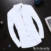 秋季長袖白色襯衫男士韓版修身男生襯衣潮流男裝休閒寸衫男式外套 晴天時尚館