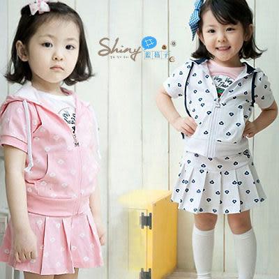 【DP966】shiny藍格子-嬰幼館.夏季女寶寶鑽石印花運動休閒裙套裝