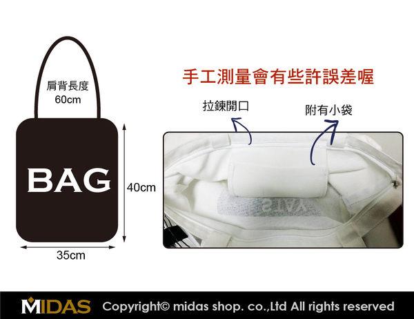 質感純棉 時尚波點 帆布袋 帆布包 手提袋 購物袋 側背包 肩背包/單肩/拉鍊開口