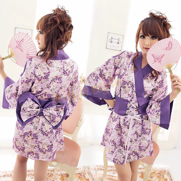 經典紫花日式和服兩件組 -彩虹情趣用品【滿千87折】包裝隱密