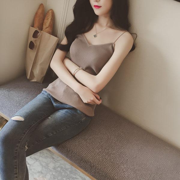 ❤princess x shop❤春夏新品短款針織吊帶背心顯瘦性感修身百搭打底衫 正韓國連線洋裝一字領【DX41