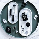 陶瓷北歐大理石橢圓形陶瓷金邊盤子家用早餐盤魚盤托盤 igo