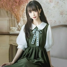 蛋糕裙 2021早春新款復古風娃娃領長裙法式修身顯瘦小清新仙女連身裙夏裝 寶貝 寶貝計畫 618狂歡