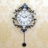 掛鐘 現代裝飾歐式羅馬靜音搖擺掛鐘時尚創意鐘錶客廳臥室掛錶個性時鐘T
