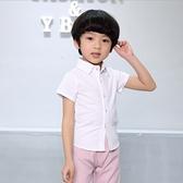 衣童趣♥韓版中大男童 亞麻白襯衫 夏日短袖襯衫上衣 表演 正式上衣