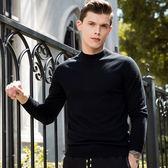 針織毛衣-立領純棉黑色休閒修身男針織衫73pg50【巴黎精品】