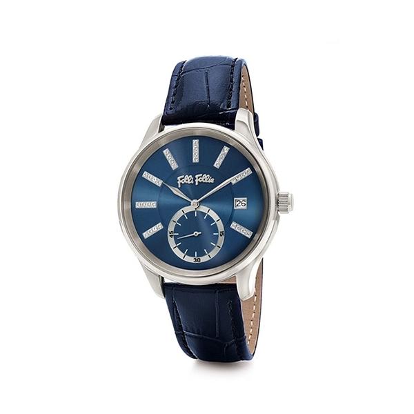 【Folli Follie】Style Bonding晶鑽時尚真皮日期腕錶-鸚藍款/WF18T004STU_DB/台灣總代理公司貨享兩年保固