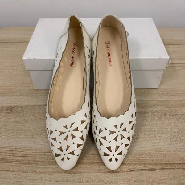韓版平底鞋尖頭鞋簍空工作鞋(36-40號/121-6516)