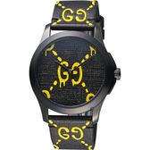 GUCCI 古馳 雙G壓紋造型錶-黑/38mm YA1264019
