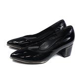 HUMAN PEACE 尖頭跟鞋 粗跟 黑色 漆皮 女鞋 086505AB no372