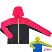 ASICS亞瑟士 女慢跑風衣外套 防風夾克(黑*粉紅) 網布內裡 背部透氣 2014新款