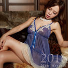 日原單~頂級光澤網紗睡裙+內褲-性感深色系列睡衣(黑、藍)