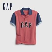 Gap男童 Logo純棉撞色POLO衫 689373-紅色