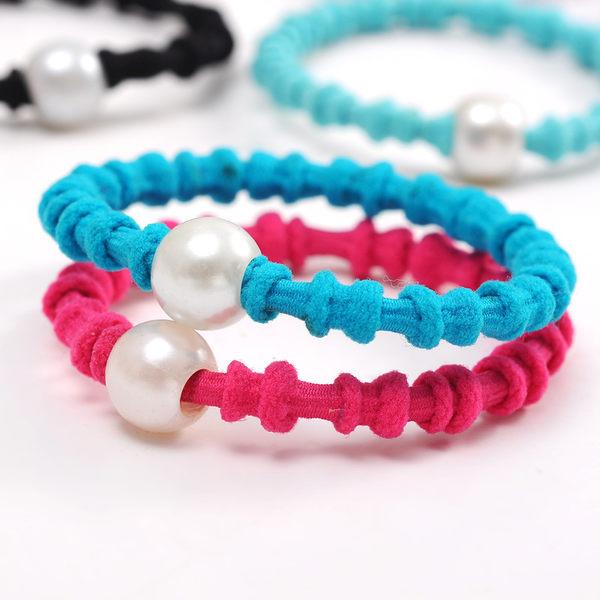 【TwinS伯澄】《珍珠藕節髮圈》韓國髮飾髮圈橡皮筋扎馬尾簡約氣質上班族基本款