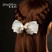 韓國頭飾成人優雅大蝴蝶結發夾百搭蕾絲頭