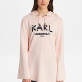 Karl Lagerfeld 卡爾 老佛爺 Tshirt 油墨KARL珍珠大學Tee-粉