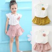 短袖套裝 夏款女童圓領三角飛袖+木耳短褲套裝(含胸花) S76008
