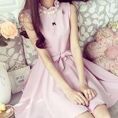 宴會花形串珠綴飾無袖綁帶小洋裝 (米黃) 粉紅.水藍售完   (MSS7)