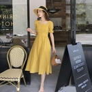 N260# 淡黃仙女裙夏法式浪漫桔梗甜美...