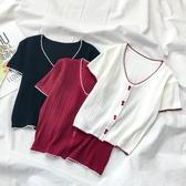 2020年夏季薄款酒紅色針織衫短袖女V領撞色冰絲短款內搭打底上衣