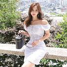 Qmigirl 韓版一字領復古系帶收腰時尚連身裙 洋裝【T1390】