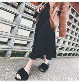 半身裙女 2018秋冬新韓版黑色毛線針織a字裙中長款高腰裙子百褶半身長裙女 芭蕾朵朵