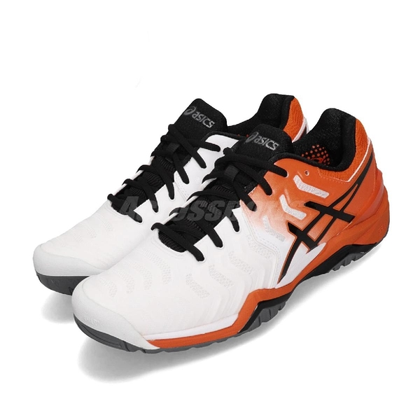 Asics 網球鞋 Gel-Resolution 7 橘 白 黑 專業款式 男鞋 【PUMP306】 E701Y100