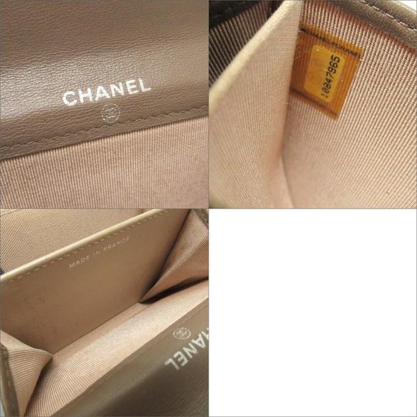 CHANEL 香奈兒 棕色羊皮銀釦二折卡片夾零錢包 Card Case 【BRAND OFF】