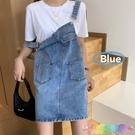夏季新款韓版學生設計感半身裙顯瘦寬鬆減齡牛仔背帶裙子女潮 快速出貨