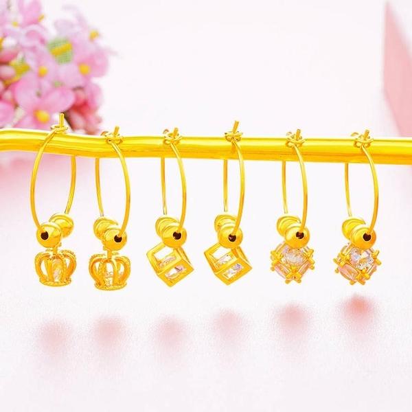 仿真黃金耳環女 個性鏤空片片鑲石耳墜鍍金色圈圈耳飾品 久不褪色