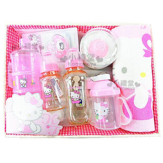 〔小禮堂嬰幼館〕台灣 佳美 Kitty 嬰兒用品禮盒組《粉紅.竹籃》送禮體面大方 4710482-07024