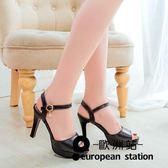 涼鞋/女粗跟魚口高跟鞋女鞋羅馬鞋