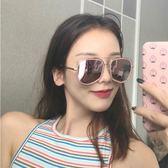 現貨-韓版ulzzang時尚百搭太陽眼鏡歐美大框太陽鏡男女百搭時尚顯瘦墨鏡網紅同款港風飛行員復古