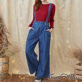 【Tiara Tiara】激安 純棉牛仔長吊帶褲(深藍)